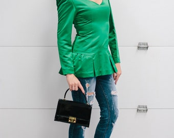 Vintage 1980s Emerald Adele Simpson Emerald Green Jewel Tone Top with Peplum