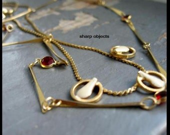 JEWEL - 2 pc set, petite vintage gold rope chain, red faceted glass dots, fused beads, cream art deco hoop & droplet charm clasp NECKLACE