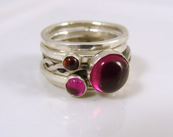 Gemstone Stacking Rings - Ruby  Garnet - Sterling silver