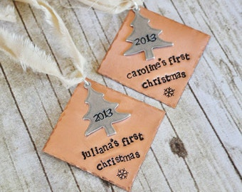 Personalized BABIES FIRST CHRISTMAS Ornament -Hand Stamped Diamond Christmas Tree Ornament -As Seen on Disney Baby