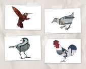 birds postcard set, bird silhouette art postcard, set of 4,blue, red, gray, whimsical animal art minimal woodland decor, reclaimed wood art