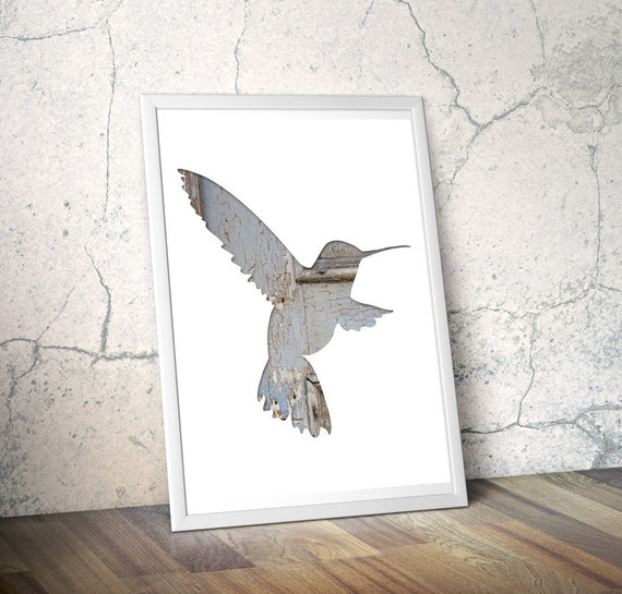 humming bird silhouette in periwinkle, digital silhouette art, 11x14 whimsical animal art, gray blue, minimal woodland decor, reclaimed wood