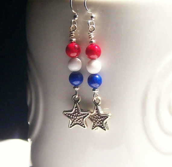 Gemstone Jewelry Earrings~ Patriotic Earrings~ Red White & Blue Star Silver Casual Rustic Earrings~Gemstone Jewelry~Patriotic Jewelry