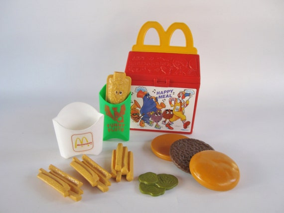 1989 Fisher-Price Happy Meal Food French Fries Hamburger Toy