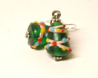 Christmas Earrings, Christmas Tree Jewelry, Sterling Silver and Artisan Lampwork Glass Christmas Jewelry, Christmas Earrings #1  OOAK Beads