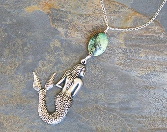 Mermaid Necklace, Green Mermaid Necklace, Stone Mermaid Necklace, Silver Mermaid Necklace, Ocean Necklace, Summer Necklace, Sea Necklace