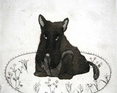 Etching / limited edition original etching (printmaking / graphic art) / original print / original art / dog art / dog etching - 'Letitia'