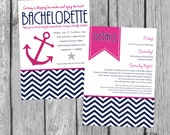 Anchor Bachelorette Party Invitation - Nautical Navy & Pink - Digital Files