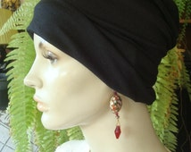 Womens Black Viscose Rayon scarf liner sleep cap under hat Med Weight