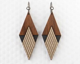 Art Deco Diamond Earring – in Graphite or Mint – Modern Minimalist Geometric Jewelry for Women
