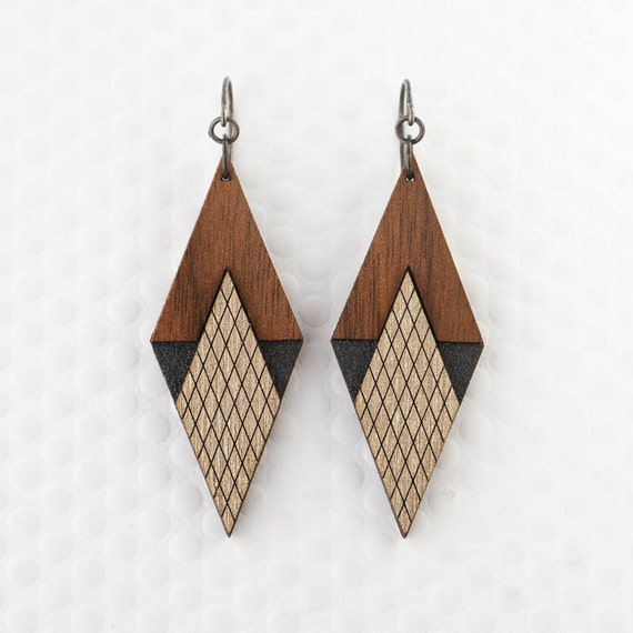 Items similar to art deco diamond earring in graphite or for Minimal art jewelry