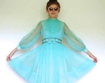 50s Aqua Blue Beaded Full Skirt Pleated Chiffon Bow Dress xxs xs