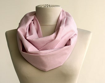 Plaid infinity scarf pink cotton scarf summer tube scarf spring scarves teen girls gift idea under 10 cowl scarf pink loop scarf MIA
