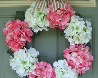 Spring Wreath - Spring Hydragea Door Wreath - Spring Door Decor - Wreath for Spring