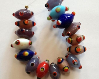 Muted - Lampwork Bumpy Glass Disc Beads - 16 beads
