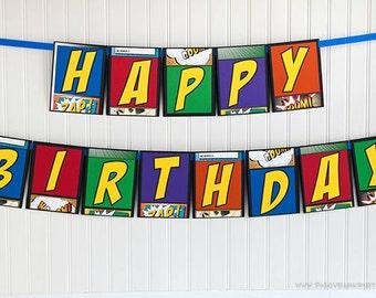 SUPER HERO Happy Birthday Banner : Superhero Handmade Birthday Garland // Birthday Sign // Comic Book Inspired Party // Party Decoration