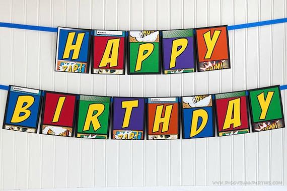 SUPER HERO Happy Birthday Banner : Superhero Handmade Birthday Garland ...