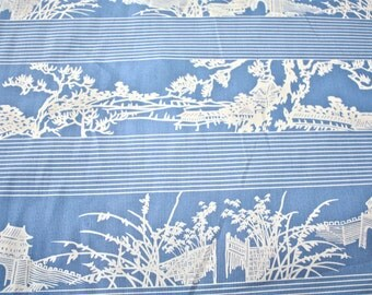 Fabric By The Yard//Asian Print//1940's Fabric// Woven Cotton//New Old Stock//Sewing Supply//