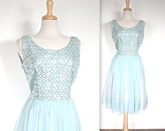 SALE Vintage 1960's Dress // 60s Powder Blue Sequin and Chiffon Party Dress // Blue Bayou // DIVINE