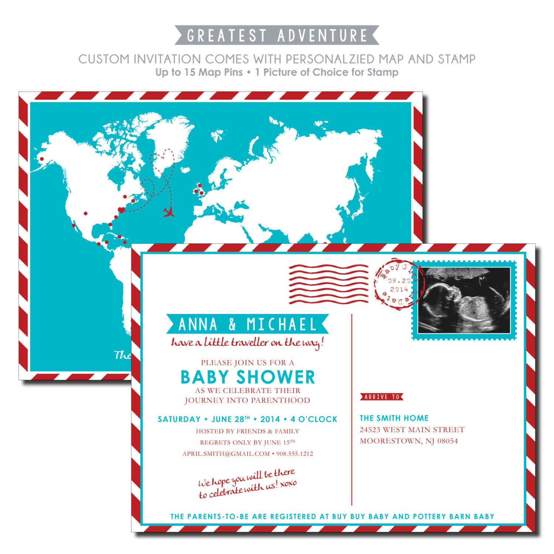 travel baby shower invitation custom map by kreativees on etsy