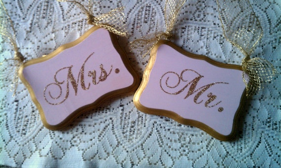 Wedding Signs GLITTERED Mr & Mrs Chair Hangers Bling Wedding Gold Wedding Pink Wedding Fairytale wedding