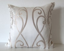 Scroll pearl white champagne decorative throw pillow cover