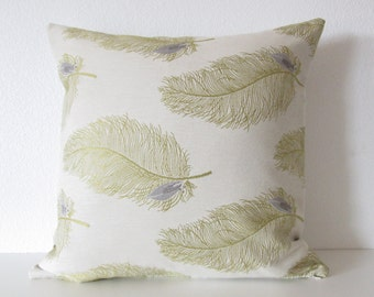 Large feather pattern chartreuse green decorative throw pillow cover