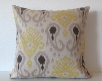 Great Barbados Ikat Citron   Yellow Taupe Brown Ikat   Decorative Pillow Cover