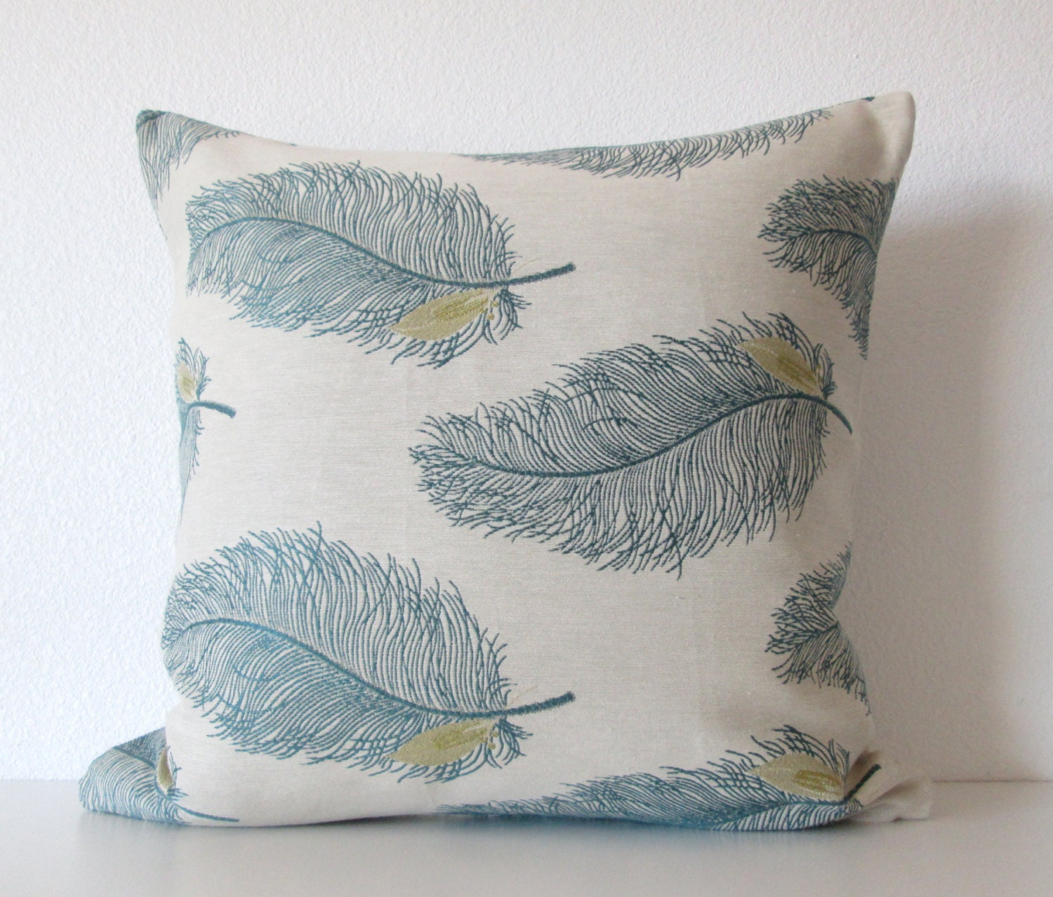 Teal And Cream Decorative Pillows : Decorative pillow cover Cream Teal Feathers Throw Pillow