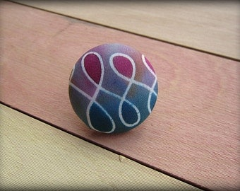 Covered Button Brooch  Pink  Blue Green Hand Painted Silk