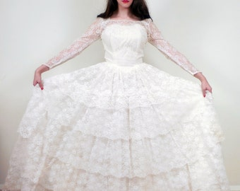 Vintage 1950s Wedding Dress with Sheer Lace Sleeves and Ruffled Skirt / 50s Long Sleeved Wedding Dress with Train/ Small