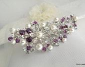 Bridal Purple Swarovski Crystal Pearl Wedding Comb,Wedding Hair Accessories,Vintage Style Amethyst Leaf Rhinestone Bridal Hair Comb,PAMELA