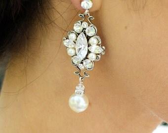 Bridal pearl Earrings bridal Rhinestone earrings Wedding Earrings Chandeliers Earrings swarovski pearl and crystal teardrop earrings GABY