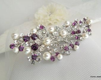 Bridal Purple Swarovski Crystal Pearl Wedding Comb Wedding Hair Accessories Vintage Style Amethyst Leaf Rhinestone Bridal Hair Comb PAMELA