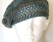 Blue Gray Wool Blend Beret Crocheted Sock Weight Yarn Handmade