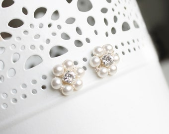 Pearl earrings, bridal studs, small flower earrings, rhinestone crystal center, simple