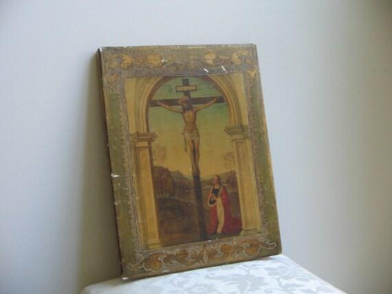 Vintage Florentine Italian Religious Icon Wall Art Jesus On