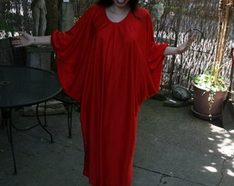 Vintage 80s Red Batwing Maxi Dress