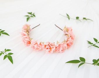 romantic pastel rose headband // pale pink - dainty, floral headpiece, nature inspired, vintage inspired, rustic rose, love.