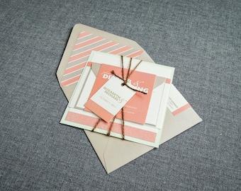 "Coral and Mint Wedding Invitation, Modern Rustic Wedding Invitations, Pastel Invitations, Layered Invitation Set - ""Bold Striped"" FP-1L-v2"