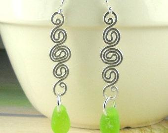 Dangle Earrings Eco Friendly GENUINE Lime Green Sea Glass Earrings Sterling Silver Spiral Jewelry