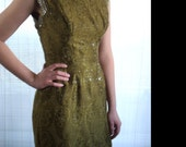 Late 1950s Metallic, Paisley, Green, Gold and Silver Wiggle Dress