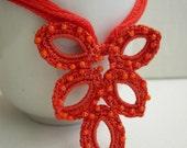 Orange Crocheted Necklace - Orange silk necklace - Orange lace pendant - Bridesmaid Orange Necklace - Textile jewelry - Boho chic Necklace