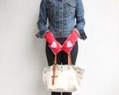 Fingerless Gloves Women's Gloves Mittens Recycled Sweatshirt Pink Red Valentine's Day Gift for Her Cotton Gloves Winter Gift ohzie