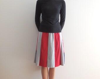 Womens T-Shirt Skirt Women's Skirt Recycled Tee Skirt Red Navy Blue Gray Knee Length Skirt Handmade Skirt Fashion Skirt Cotton Skirt