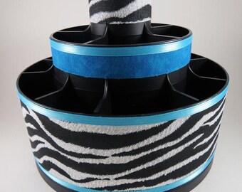 ZEBRA BLUE - Altered Pampered Chef Tool Caddy -   Make Up Brush organizer