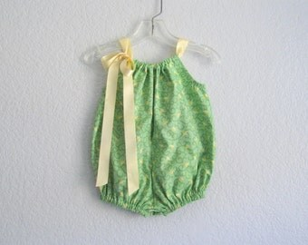Baby Girl Bubble Romper - Spring Green Sunsuit with Butter Yellow Tulips - Baby Girl Clothes - Size Newborn, 3m, 6m or 9m