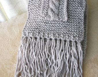 GIANT POCKET Scarf COAT Super Long Wide Hand Knitted with Fringes / Your Color Choice