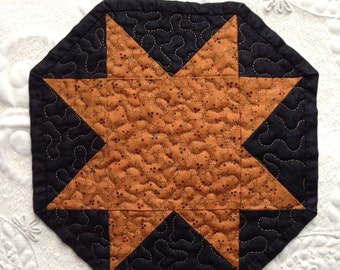 Miniature Start Quilt- octogon- Mug Rug - Candle Mat- Machine Quilted - Made to order - traditional - primitive - fall decor - autumn