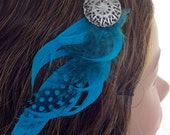 Art Nouveau Teal Guinea Feather and Silver Filigree Clip